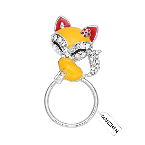 MANZHEN Lovely Fox Animal Brooch Crystal Fox Magnetic Eyeglass Holder Pin,Brooch Jewelry for Clothes