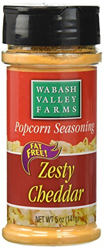 (Wabash Valley Farms Popcorn Seasoning Salt 5 oz., Zesty Cheddar Cheese - Convenient Shaker Bottle for Easy Application - Great for Veggies, Dips and More - Fat-Free, 0 Calories - Gourmet Quality)