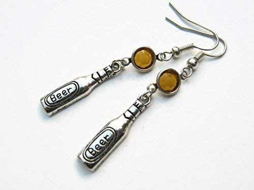 Personalized Beer Bottle Earrings, Alcohol Birthstone Earrings, Brewery