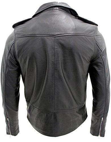 Männer Leger Brando Beiläufige Schwarz e Bikerjacke aus Leder