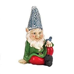 Gnome, Funny Gnomes estatuas de jardín, exterior miniatura Cheery Solar gnomo Estatua