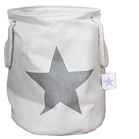 9c098316d Ropa Sucia En Color Crema con estrella en gris Vintage de lino aspecto de la  colada juguete cesta ropa sucia: Amazon.es: Hogar