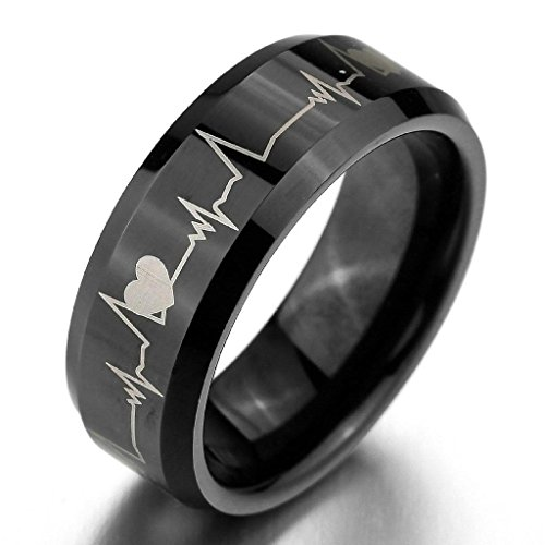 Sims Diamond Costume (Epinki,Fashion Jewelry Men's Wide 8mm Tungsten Rings Bands Black Heart Comfort Fit Valentine Love Couples Promise Wedding Engagement Size)