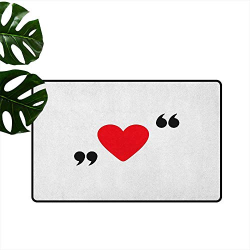 - Love,Floor mat Cute Red Heart in Quotation Marks Romantic Love Icon Simple Classic Valentines 16