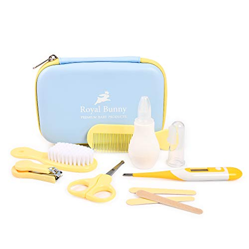 Royal Bunny 8Pcs Baby Grooming Kit   Convenient Baby Daily Care Kit   Nail, Clipper, Scissors, Hair Brush, Comb Manicure & Thermometer   Best Gift for Baby Boy or Girl   Newborn Grooming Kit