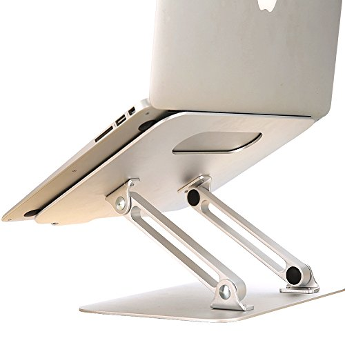 SKYZONAL Aluminum Adjustable Laptop Notebook Stand Riser Portable Height Adjustable and Angle Desk Notebook Support for MacBook Pro/Air, Apple Laptop Stand 11-17