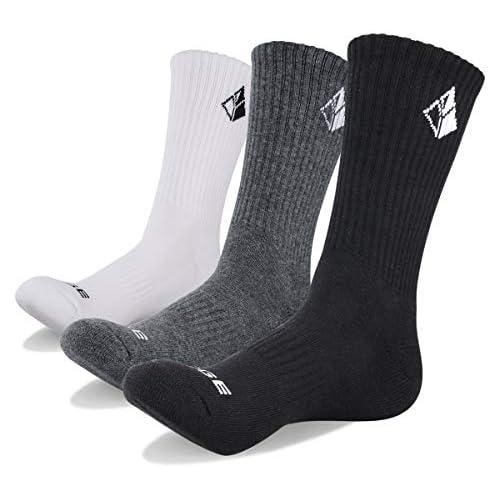 YUEDGE 3 Pairs Cotton Cushion Crew Socks Workout Training Walking Hiking Socks Athletic Sports Socks (L)