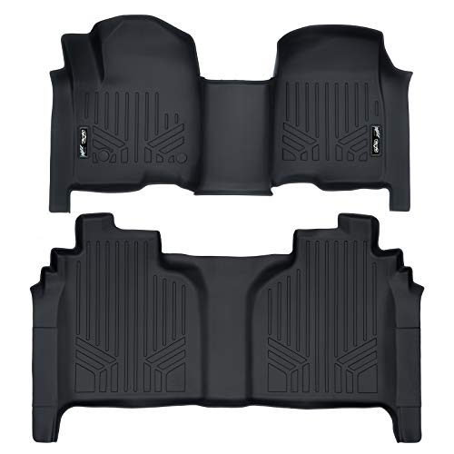 MAX LINER A0401/B0400 Custom Fit Floor Mats 2 Liner Set Black for 2019 Silverado/Sierra 1500 Crew Cab with 1st Row Bench ()