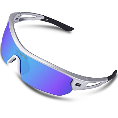RIVBOS Polarized Sports Sunglasses Sun Glasses with 4 Interchangeable Lenses for Men Women Baseball Cycling Running TR90 Frame RB832 (Silver&Black Ice Blue Lens) - Sunglasses Men Online