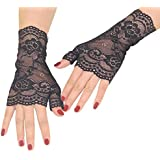 Orcle Women's Short Lace Gloves Fingerless for Driving Wedding Wrist Length Bridal Prom Gloves Black#1