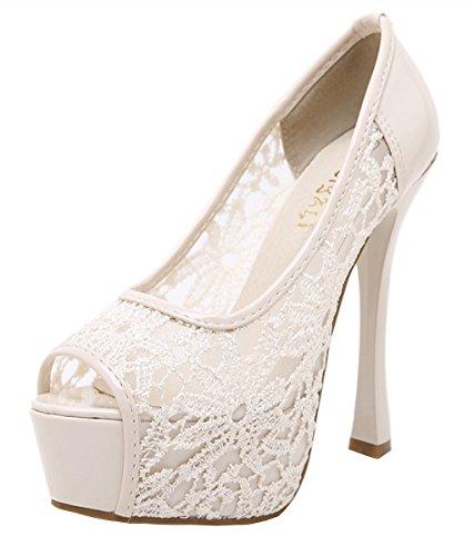 YE Damen High Heels Peep Toe Plateau Pumps mit Blumen Stiletto Spitze Braut Hochzeit Schuhe Beige