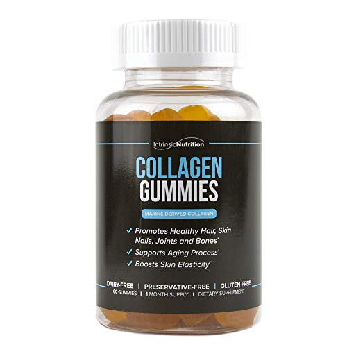 Collagen | Chewable | Dietary Supplement | Hair Skin Bone Health | Joint Support | Muscles & Tendon Support | Marine Collagen | Pectin Supplement | Mens Gummies | Women Gummies | 60 Count