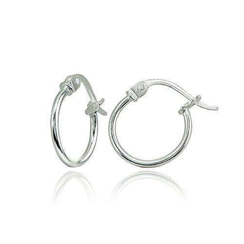 (Sterling Silver Tiny Small 12mm High Polished Round Thin Lightweight Unisex Click-Top Hoop Earrings)