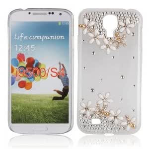 Colorful Crystal Case with Ten White Flowers Pattern for Samsung i9500 Transparent White