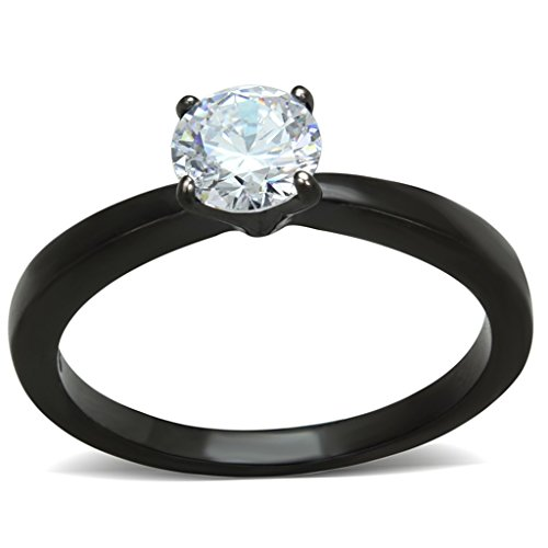 Marimor Jewelry 1.05 CT Round Cut AAA CZ Black Stainless Steel Engagement Ring Womens Size 5-10