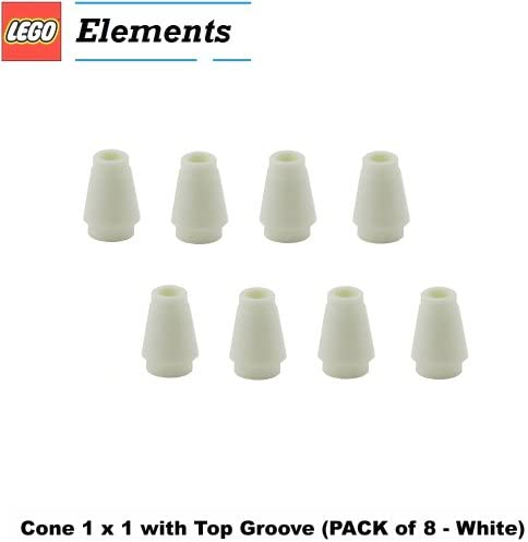 Lego 5 New White Cones 1 x 1 with Top Groove Pieces