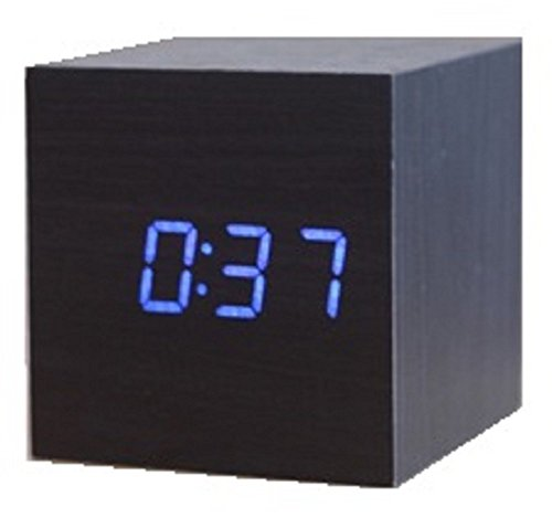 Spy Vs Spy Costume Review (Cube Shaped LCD Display Digital Alarm Clock Wooden Comapct Clock Blue Number Dark Brown Body)