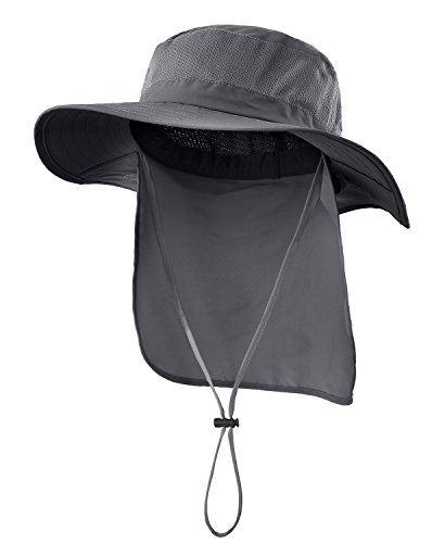 - Home Prefer Outdoor UPF50+ Mesh Sun Hat Wide Brim Fishing Hat with Neck Flap (Dark Gray)