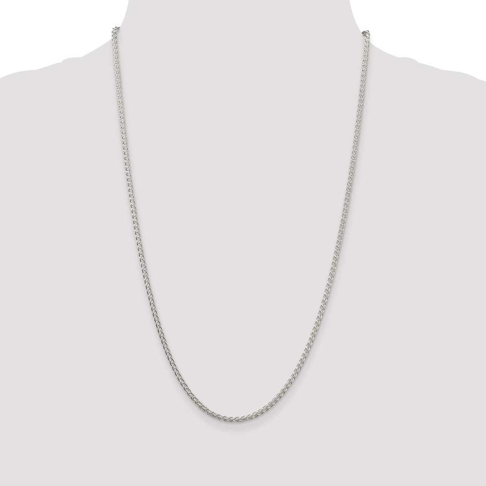 925 Sterling Silver Round Spiga Chain Necklace in Silver Choice of Lengths 16 18 20 24 30 22 26 28 36 and Variety of mm Options