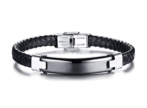 - Mealguet Jewelry Personalized Custom Engraved Men's Black Braided Leather Bracelets,Stainless Steel Nameplate ID Bracelet Wristband,8.4