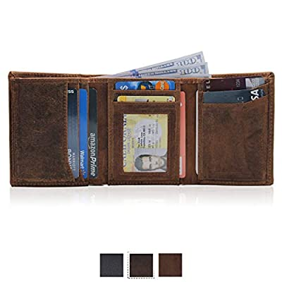 RFID Leather Trifold Wallets for Men, minimalist, handmade & slim with id window