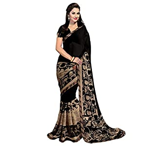 ANNI DESIGNER Georgette Saree with Blouse Piece (Black Gerog_Black_Free Size)