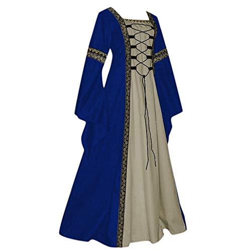 WatFY Dress Women Ball Gown Celtic Medieval Floor Length Skirt Renaissance Gothic Cosplay Dresses (Blue, XL)]()
