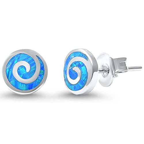 Round Spiral Swirl Stud Earrings Lab Created Blue Opal 925 Sterling Silver 7mm