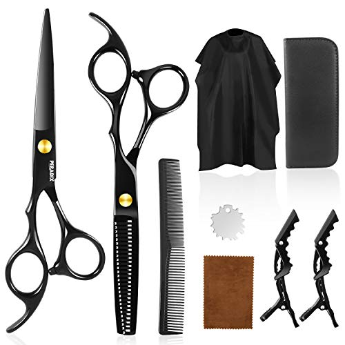 Peradix Professional Hair Cutting Scissors Sets 9 Pcs Hairdressing Scissors Kit, Hair Cutting Scissors, Thinning Shears, Hair Comb, Clips, Cape, Shears Kit for Home, Salon, Barber