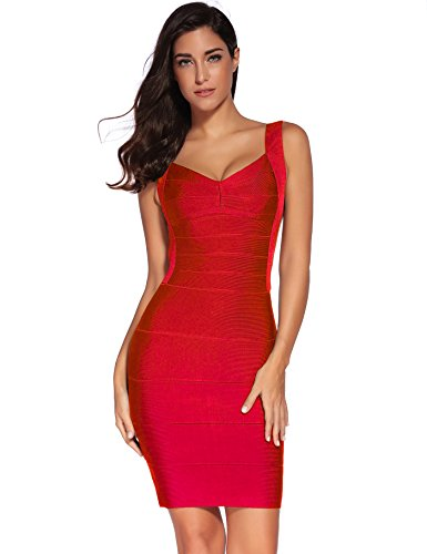 - Meilun Women's Backless Low-Cut Sling Bandage Cocktail Dress (Medium, Red)