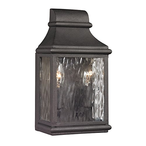 Elk Lighting 47070/2 Forged Jefferson Collection 2 Light Outdoor Sconce, Charcoal