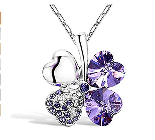 Weishu Four Leaf Clover Necklace Fashion White Gold Plated Austrian Crystal Lucky Four Leaf Clover Pendant Necklace (Purple)