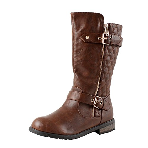 CC Mango-21k Little Girls New Knee High Flat Riding Boots Shoes (11, Brown)