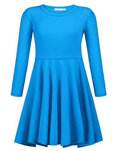 Arshiner Girls' Cotton Long Sleeve Twirly Skater Party Dress, Dark Blue, 7 Years -