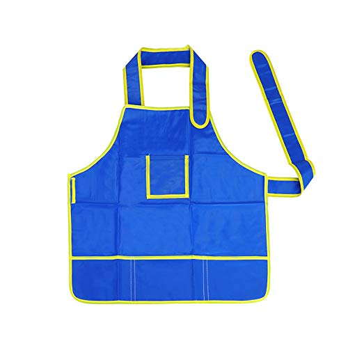 UOSC Waterproof Washable Oil Face Painting Apron School Kids, Little Chef Role Play Art Drawing Smock Set, Blue