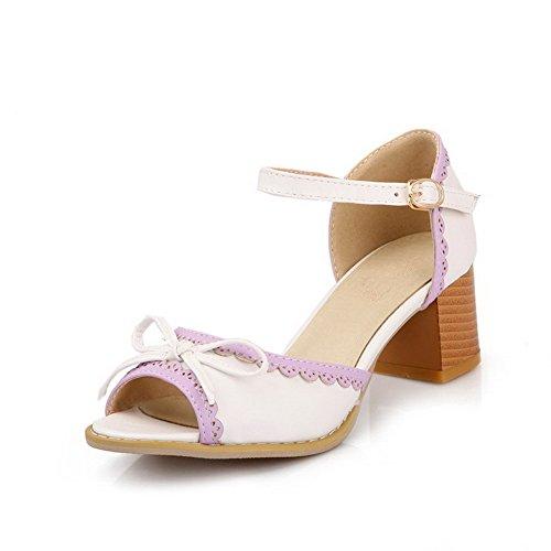 AgooLar punta blancas gatito surtido sandalias abierta tacones color hebilla rxv8Xr
