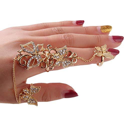 OVERMAL Rings 1PC Rhinestone Flower Butterfly Full Finger Ring Gold Chian Link Double Ring