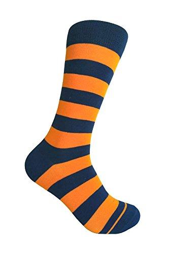 Men's Navy Stripe Dress Socks Navy/Orange,One size fits most men; Sock Size ()