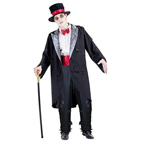 Charm Rainbow Men's Zombie Groom Costume Corpse Groom Suit for Halloween Party(L) Grey,Black -