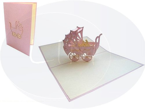 - LIN Pop Up 3D Greeting Card to Celebrate the Birth of a Baby Girl, Stroller, (#90)