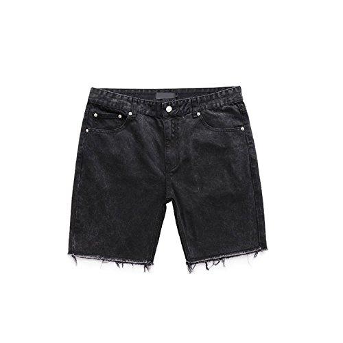 Bansca 2018 Fashion Denim Shorts Men Street Real US Size fit Hip hop Fitness Slim Men Clothing South Korea wear Shorts,Black,38
