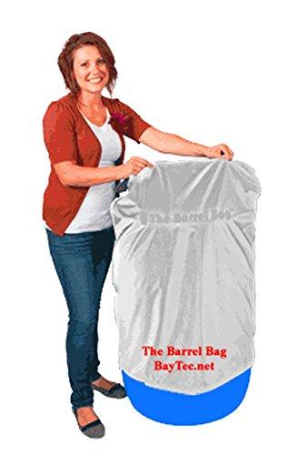 55 Gallon Barrel Bag Cover, Heavy Duty, White,