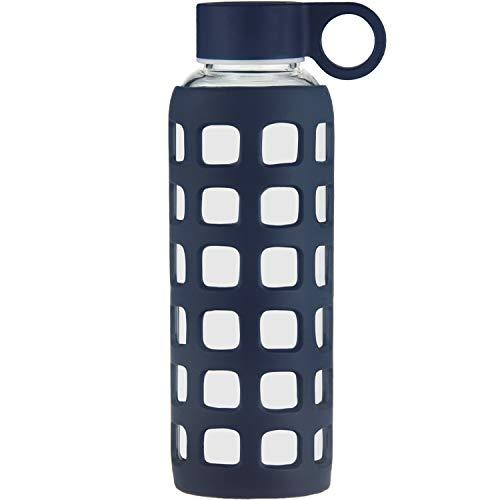 ORIGIN Best BPA-Free Borosilicate Glass Water Bottle with Fun Square Silicone Sleeve and Leak Proof Lid - Dishwasher Safe (Dark Blue, 22 Oz)
