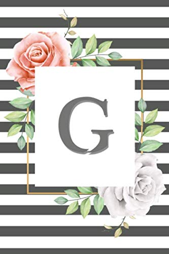 Letter G monogrammed Notebook: Cute Flower  Initial Monogram Letter G Notebook. Pretty Personalized Medium Lined Journal & Diary - 6 x 9 - Glossy cover