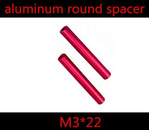 Nuts 20pcs/ lot M322 Double Pass Thread Female to Female Round Red Aluminum Standoff Spacer Nut Thread Pitch 0.5mm