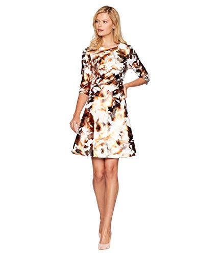 eci 3/4 Sleeve Foil Floral Printed Scuba Dress Ivory/Gold 8