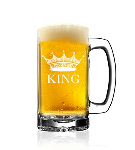 King Beer Glass - Beer Mug - Beer Glasses - Glassware - Drinkware - Great Gifts for Housewarming, Wedding, Newlyweds, Husbands, Fathers, Engagement, Bachelor, Party Favors (1 Pack)