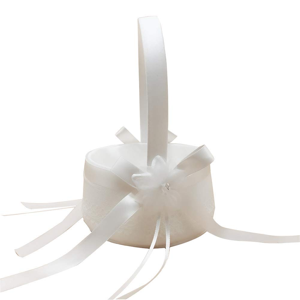 Wedding Flower Basket Lace Bow Ribbon Wedding Basket for Matrimony Processions Cute Satin Flower Holder Beige Durable and Useful