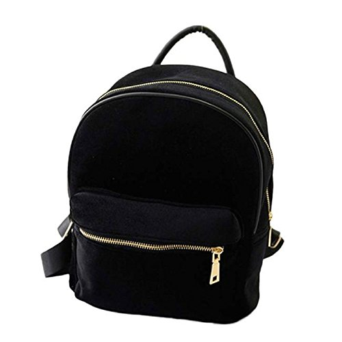 Rcool Backpack Shoulder School Bag Black Gold Velvet Book Women Women Backpack Rucksack Small bag 51gx5Bdwq