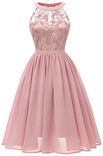 Women Sleeveless Halter Lace Bridesmaid Prom Party Dress F10 (Pink, 2XL)